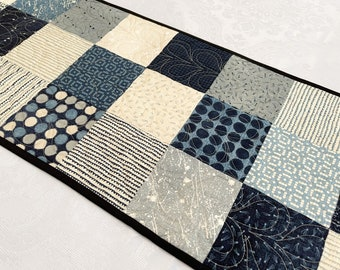 Blue Table Runner, Navy Quilted Patchwork Coffee Table Runners, Beautiful Neutral Table Topper