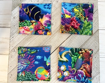 Fabric Coasters, Set of Four, Coastal Cup Coaster, Handmade Mug Rugs, Home Decor for Coffee Table, Desk, or Side Table