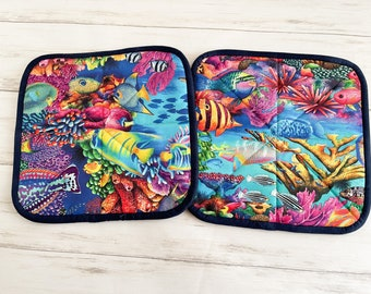 Quilted Pot Holders, Coastal Potholders, All Cotton Hot Pads, Set of 2, Ocean Beach Theme