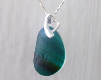 Dainty Dark Teal Sea Glass Necklace, Seaglass, Beach Glass, Sterling Silver, Beach Jewelry, Sea Glass Pendant, Seaham, End of Day, Multi