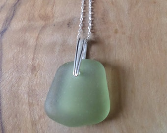 Green Sea Glass Sterling Silver Necklace, Pendant, Seaglass, Seaglass Necklace, Beach Glass, Beach Jewelry, English, Northumberland