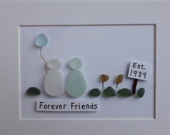 7d63a7a44ac7 Sea Glass Art - Best Friend Gift - Gifts for Female Friends - Unique Gift -  Personalised Best Friend Birthday Gift - Personalized Gifts