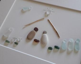 "Sea Glass Nativity - Unique Nativity Art - Nativity Scene - Pebble Art Nativity - 9 x 11"" Sea Glass Christmas Advent Art - Christmas Art"