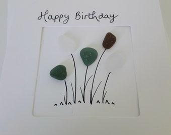 Sea Glass Birthday Card - Beach Glass Birthday Card - Sustainable Cards - Birthday Cards - Sea Glass Art Card - Minimalist Cards England