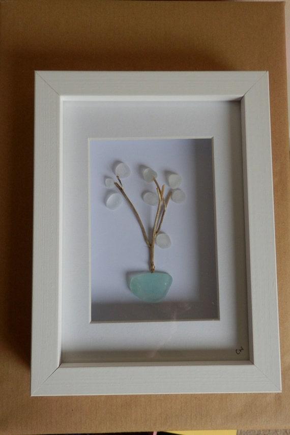 Sea Glass Art Tree Shadow Box Recycled