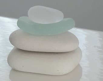 Mini Sea Glass Pebble Stack - Seaham Beach Pebbles & Sea Glass  - Coastal Bathroom Accessories - Stacking Stones - Zen Garden -Stone Cairn