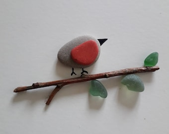 """Robin: Sea Glass & Pebble Art - Sea Glass Picture 5 x 5"""" - Gifts for Mum - Robin Gifts - Memorial Gifts - Pebble Art Robin - Sea Glass Art"""
