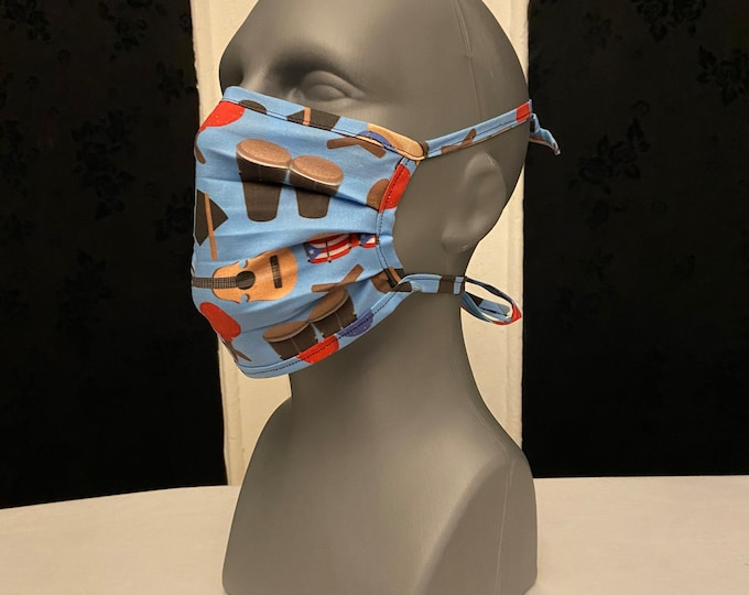 Puerto Rico Musical Instruments Face Mask