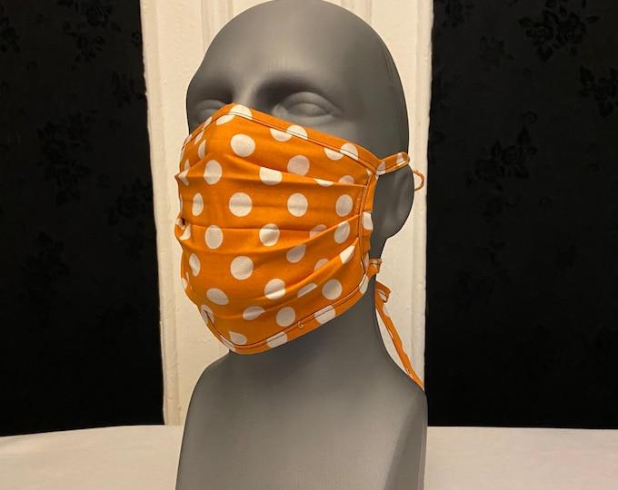 Orange Polka Dot Face Mask