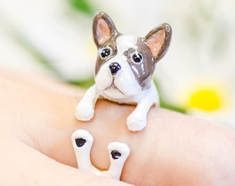 Wear a Wish French bulldog  Animal Dog Adjustable Ring (Dear Dog Project)