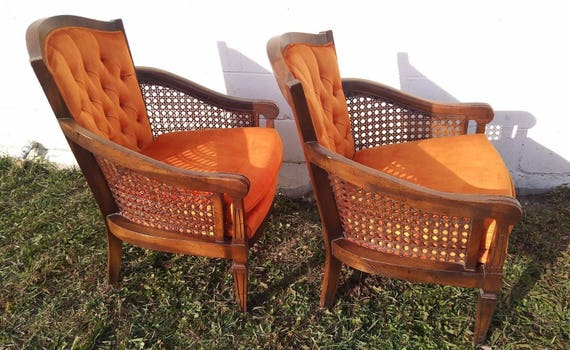 2 Great Lewittes NC Chairs Vintage Mid Century Cane Hollywood | Etsy