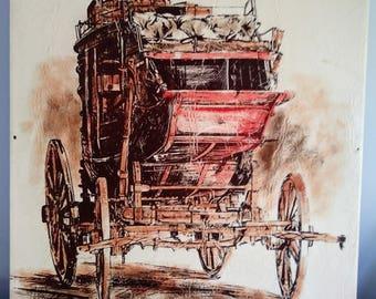 "Rare Signed, Mid Century, Stagecoach Western Art, Painting, Print on Vinyl, 24"" x 30"", Unframed"