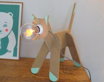 LAMPE CHAT - Léonard&Cie - en kit - en bois - ampoule Love - veilleuse - cordon électrique gris/douille blanche