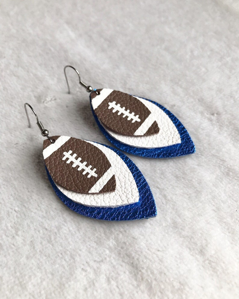 los angeles e42e8 6b09a Leather football earrings team colors blue and white   Etsy