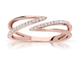 14k Rose Gold Split Open Diamond Band