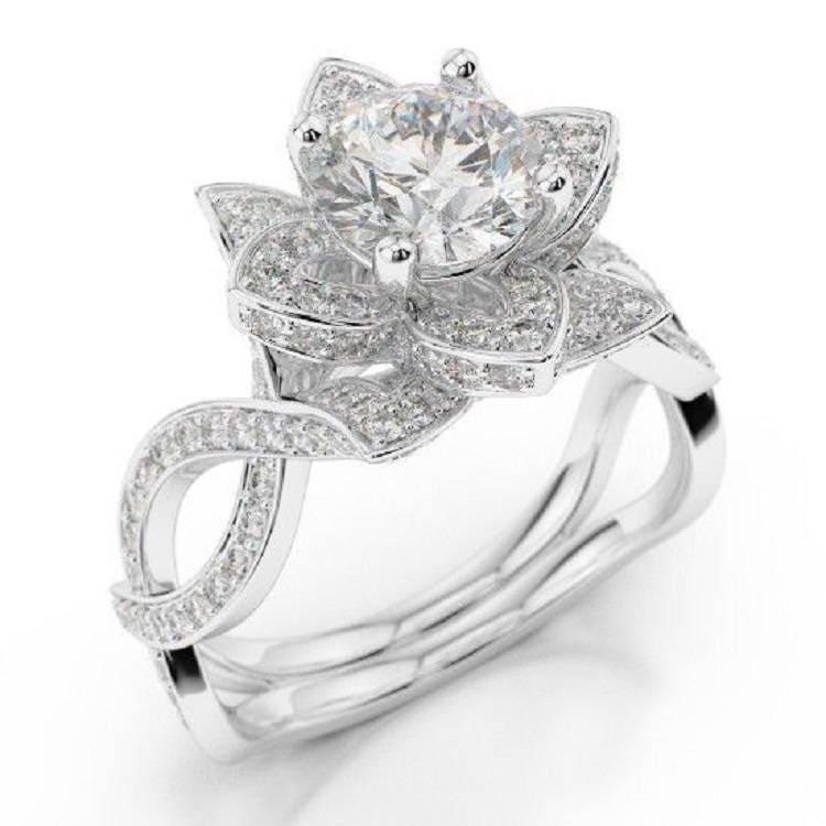 Forever One Moissanite Lotus Flower Engagement Ring With Diamond