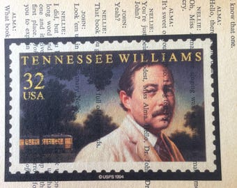 d9ebecca35f43 Tennessee Williams Vintage Upcycled Stamp Print  Summer and Smoke