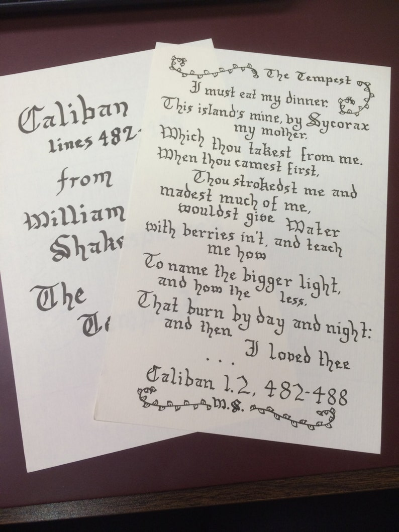 Caliban Monologue//William Shakespeare's The Tempest//Medieval Calligraphy