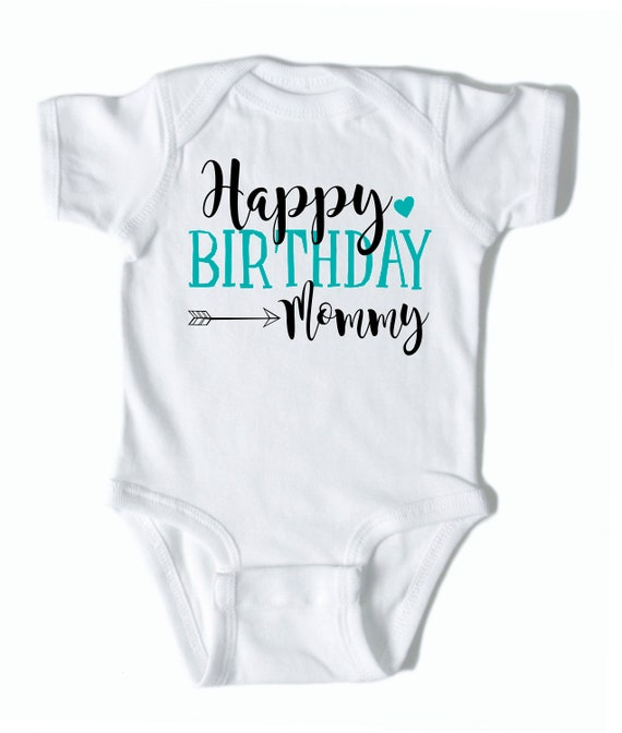 White Happy Birthday Mummy Personalized Long Sleeve Baby Vests Bodysuits Baby Grows Girls