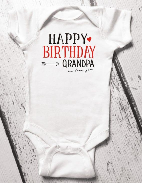 Happy Birthday Grandpa Baby Bodysuit Grandpas