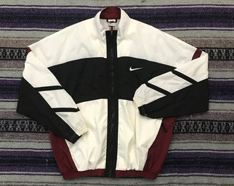 53fde360b Vintage Nike Track Jacket Full Zip Windbreaker Striped Colorblock Mens M/L  Medium Large in Maroon Red White Black