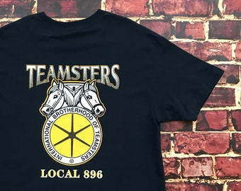Vintage 90s Teamsters Shirt Graphic Tee Local 896 Southern California Mens  Large in Blue Yellow 9a4f45add51f