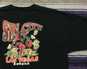 5efd4b532 Vintage Las Vegas Sin City Shirt Graphic Tee Mens 2X Nevada Devil Cherry  Souvenir Travel Aesthetic T-Shirt in Black