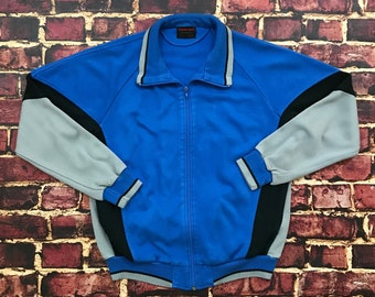 Vintage Track Jacket Tracksuit Top Zip Up 80s Colorblock Striped Mens S M  Small Medium in Blue Gray Black 32f8ade5d