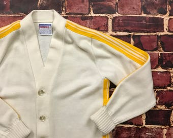 Vintage Cheerleading Cardigan Acrylic Sweater Cardigan Sweater Size 38 Womens 1970s in White & Yellow