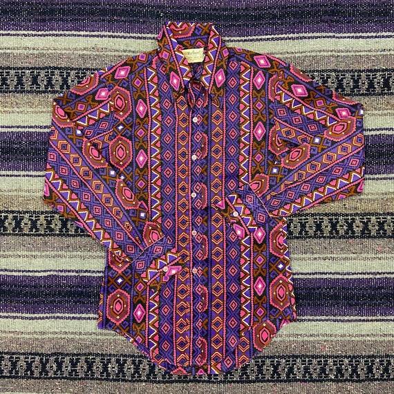 Vintage Colorful Western Shirt Long Sleeve Funky R