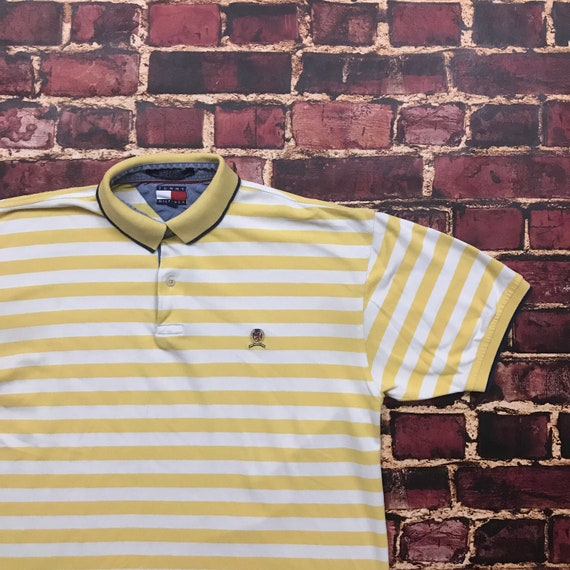 db2b7a64 Vintage 90s Tommy Hilfiger Striped Polo Shirt Mens Large