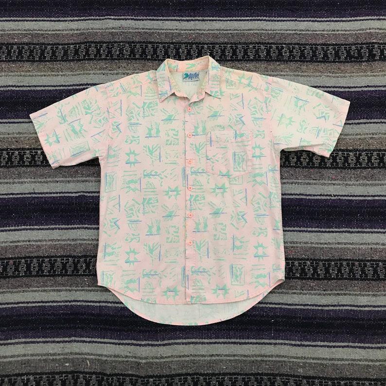 Vintage Hawaiian Shirt 80s 90s Surf All Over Print Button Down Shirt Aloha Camp Button Up Shirt Mens Medium Funky Abstract Geometric Hippie