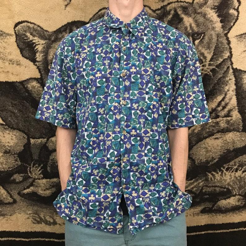 a45286be Vintage Hawaiian Shirt Spades Floral Button Down Shirt Hawaii | Etsy