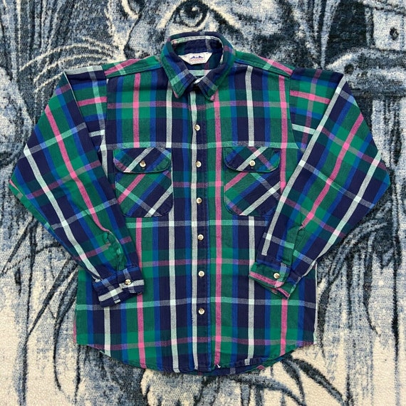 Vintage Flannel Shirt Plaid Long Sleeve Button Dow