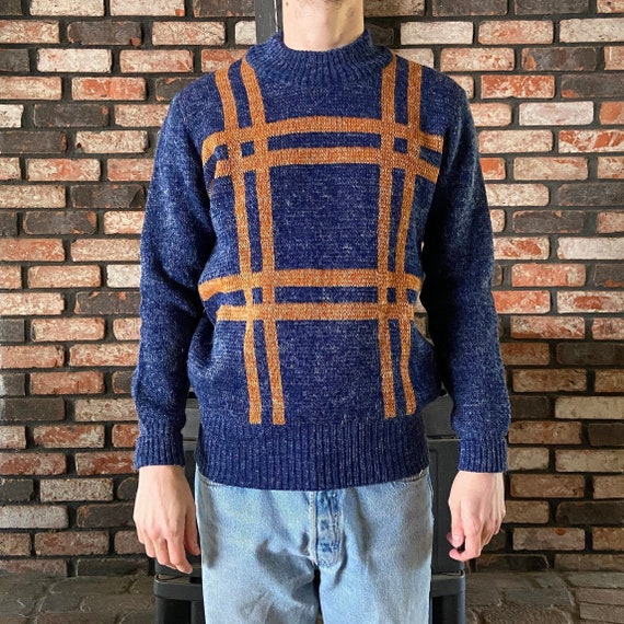 Vintage 90s Abstract Striped Sweater Pullover Crewneck Sweatshirt Funky  Colorful Fisherman Hippie Aesthetic Size Medium