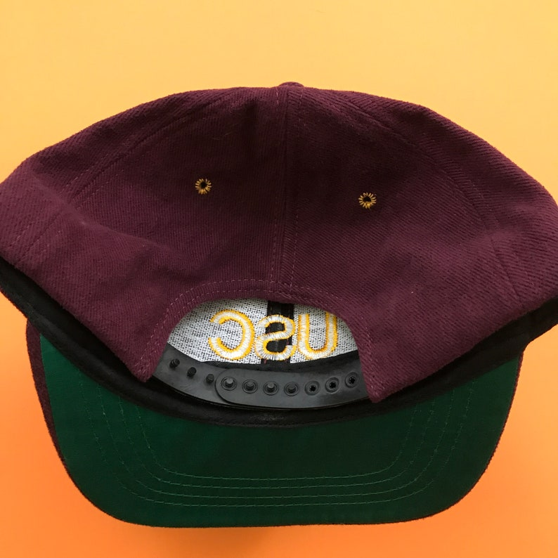 5e151da99dd Vintage USC Trojans Snapback Hat College Football Maroon Red