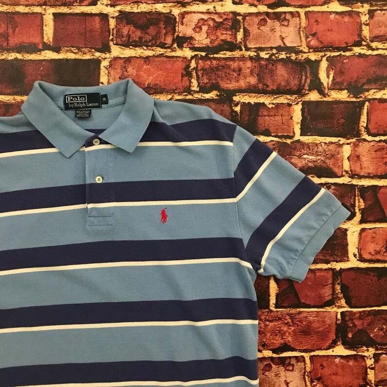 db896bba Vintage Striped Polo Shirt Polo Ralph Lauren Blue Medium 90s | Etsy