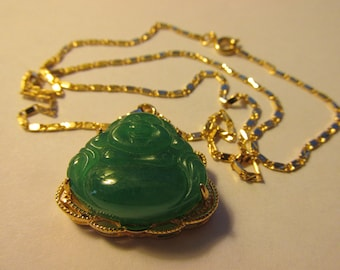 Gold laughing buddha etsy green jade laughing buddha pendant with matching chain 18 aloadofball Image collections
