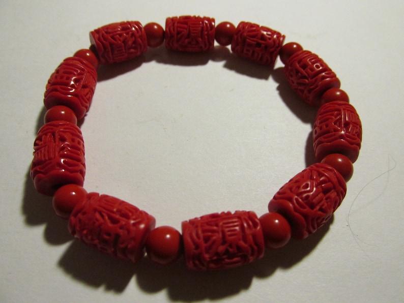 One Size Chinese Red Cinnabar Drum Bead Bracelet