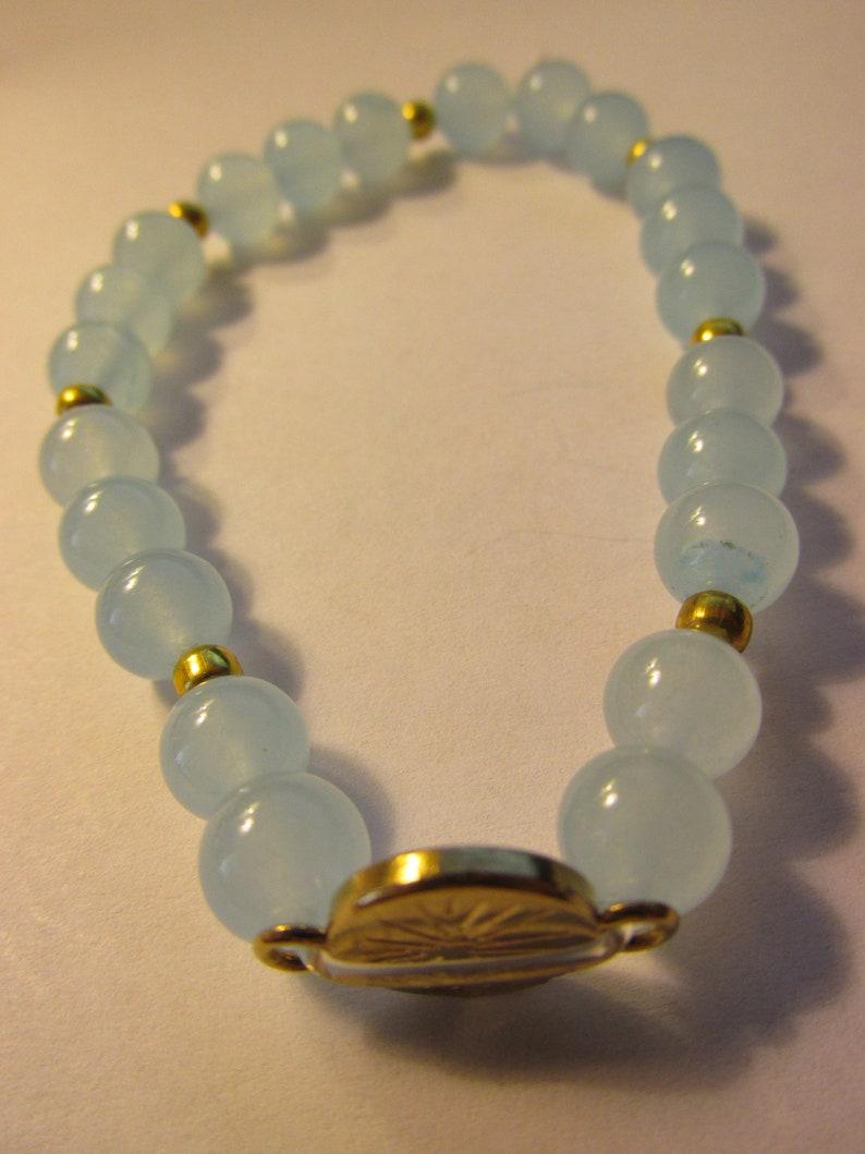 Blue Jade Bead Expandable Bracelet with Evil Eye Charm One Size