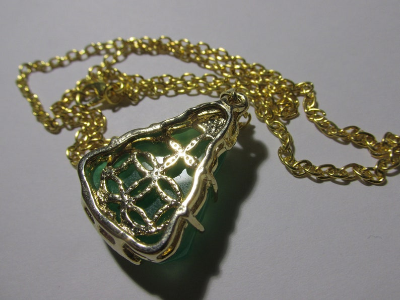 20 Green Jade Laughing Buddha Pendant with Gold Tone Chain