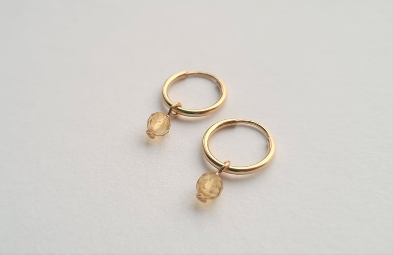 Dainty Citrine November Birthstone Sleeper Circle gold filled sterling silver earrings mothering sunday birthday gift dainty minimalist