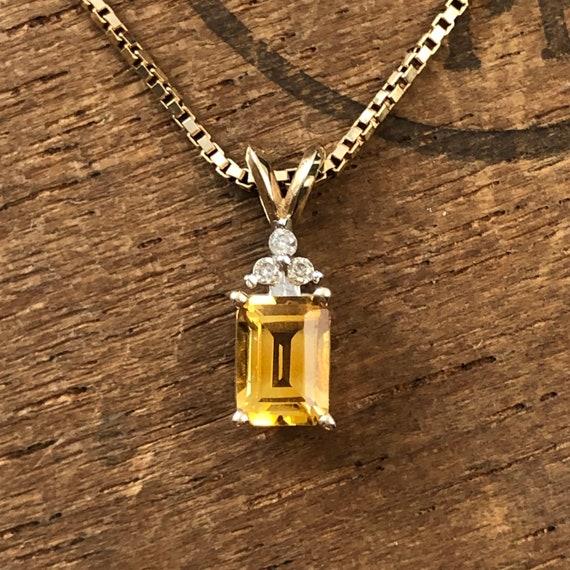 Citrine and Diamond 10k Gold Necklace Pendant - No