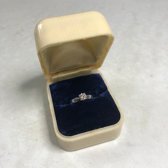 Celluloid Vintage Ring Box - Flower - Blue Velvet - image 9