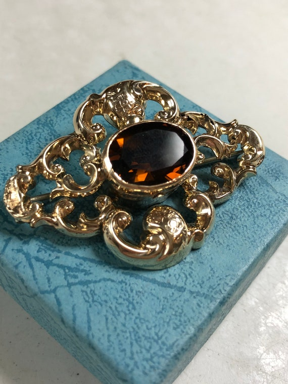 Georgian Citrine / Smokey Quartz Solid Gold Brooch