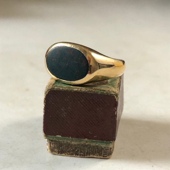 Bloodstone Signet Solid Gold Ring - Unisex Ring -