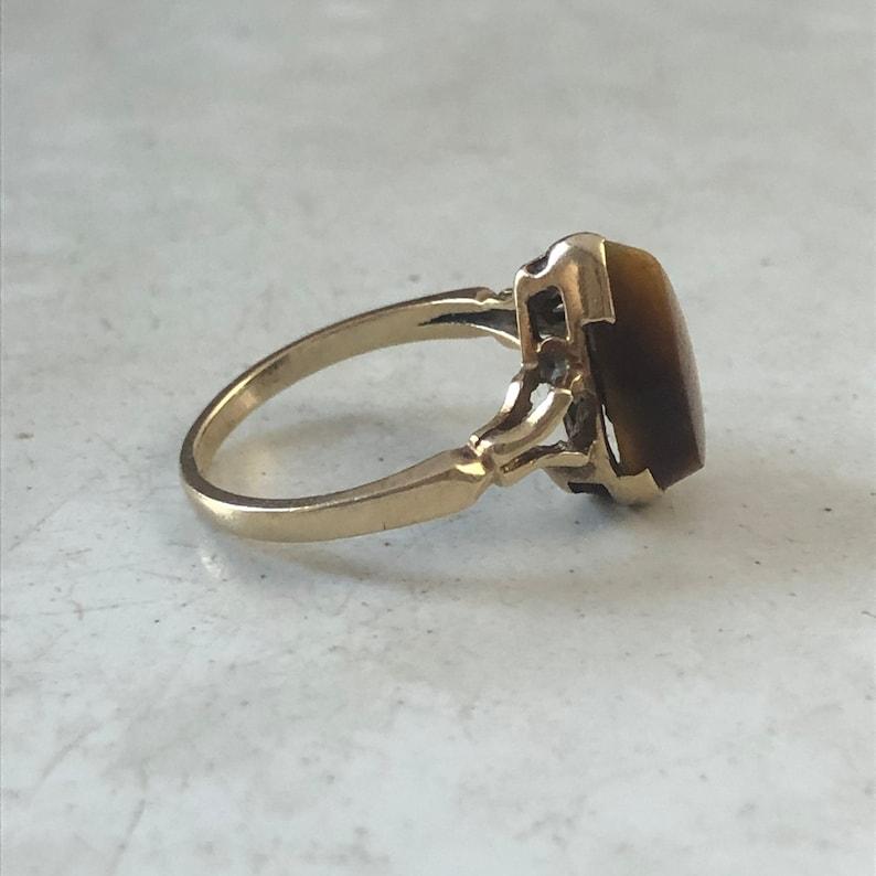 Vintage Ring Retro Tigers Eye 10k Yellow Gold Ring