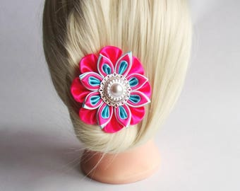 Satin Flower Hairclip/Hairclip with Kanzashi Flower pink and turquoise/Satin Hair accessory/Up to 160 Custom Colors