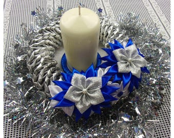 Christmas Table Centerpiece Purple And White Satin Christmas Etsy