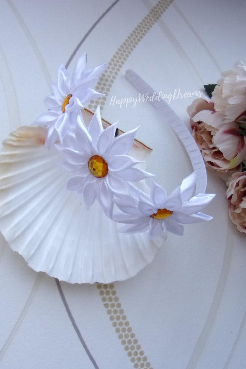 Flower girl headband ST0029 Wedding or first communion headband White Kanzashi flower headband
